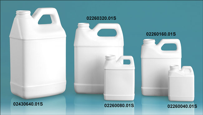 Plastic Jugs, White HDPE F-Style Jugs (Bulk), Caps NOT Included