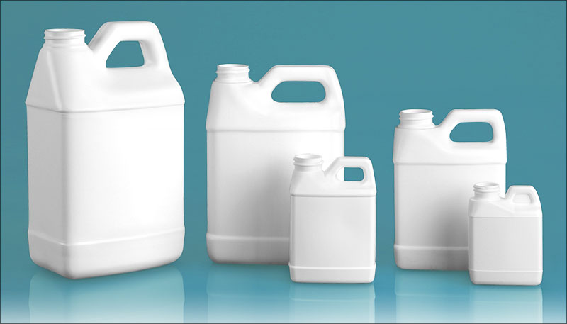 HDPE Plastic Jugs, White F-Style Jugs (Bulk), Caps NOT Included
