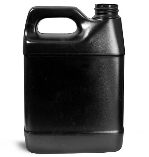 Plastic Jugs, Black HDPE F-Style Jugs (Bulk), Caps NOT Included