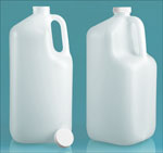 Natural Plastic Square Jugs w/ White Ribbed Lined Caps