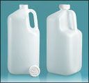 Natural Plastic Square Jugs w/ White Child Resistant Caps