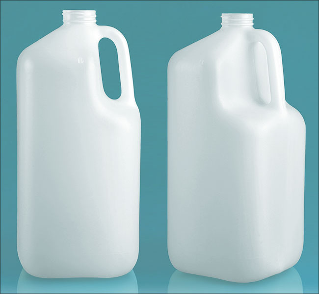 Plastic Jugs, 1 gal Natural HDPE Square Jugs (Bulk), Caps NOT Included