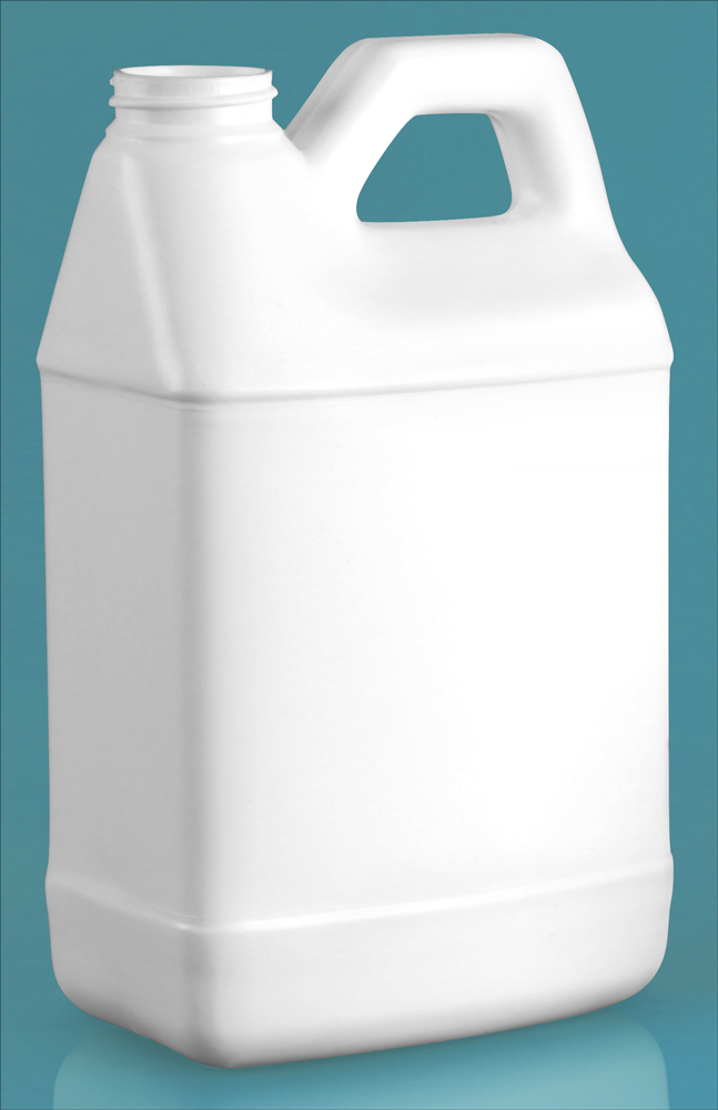 64 oz White HDPE F-Style Jugs (Bulk), Caps NOT Included