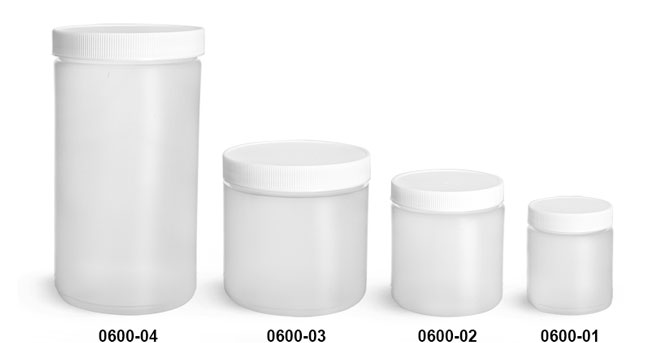 Plastic Jars, Natural HDPE Straight Sided Jars w/ White Lined Screw Caps