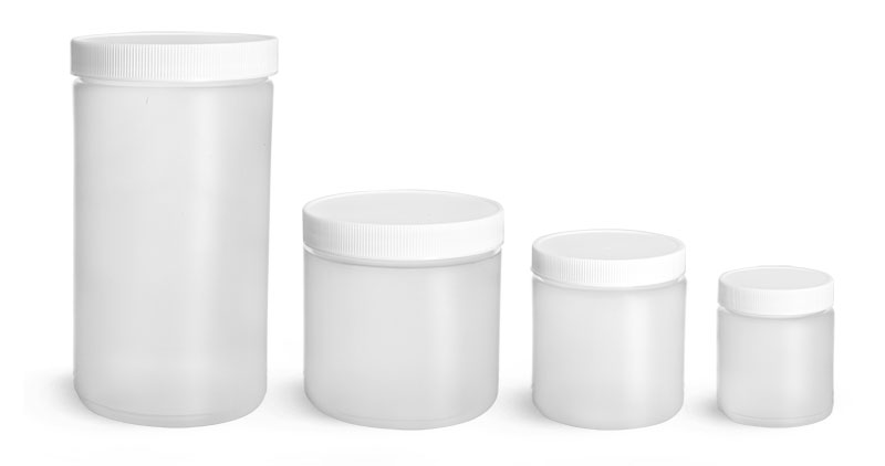 HDPE Plastic Jars, Natural Straight Sided Jars w/ White Lined Screw Caps