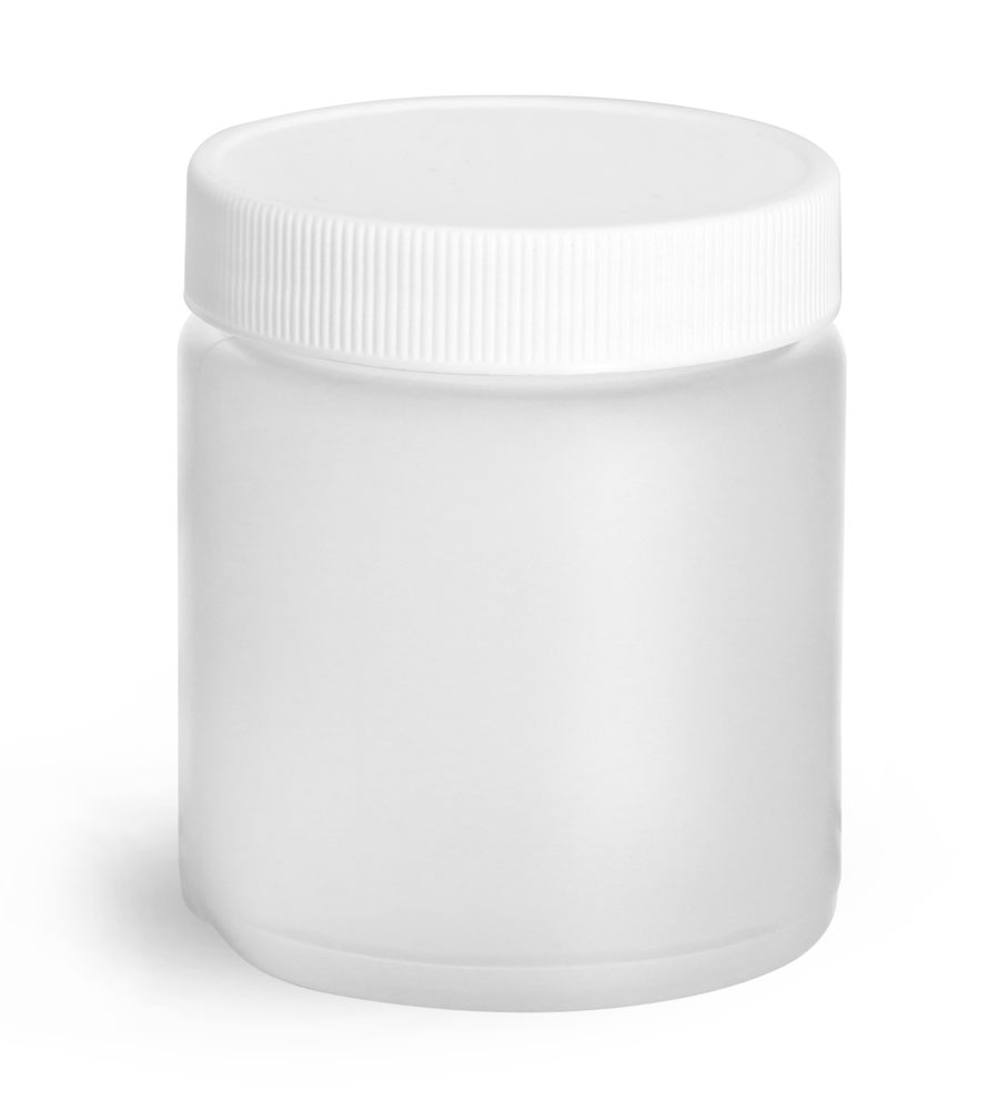 4 oz Natural HDPE Straight Sided Jars w/ Lined Screw Caps