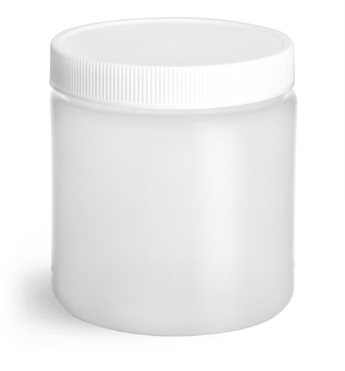 8 oz Natural HDPE Straight Sided Jars w/ Lined Screw Caps