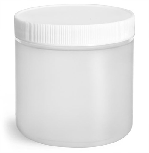 16 oz Natural HDPE Straight Sided Jars w/ Lined Screw Caps
