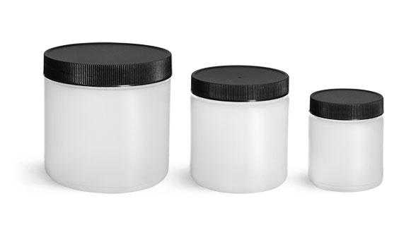 HDPE Plastic Jars, Natural Straight Sided Jars w/ Black Lined Screw Caps