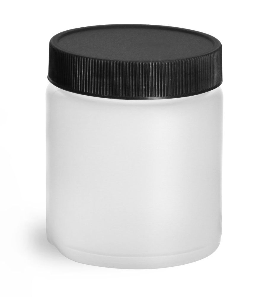 Natural HDPE Straight Sided Jars w/ Black Lined Screw Caps