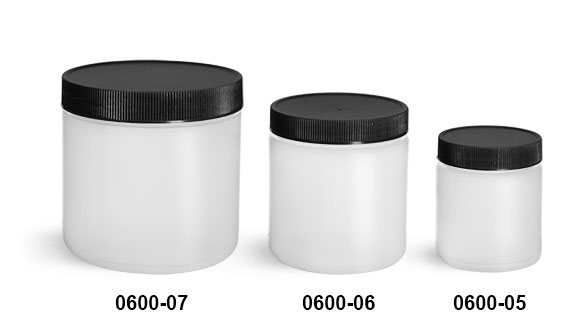 Plastic Jars, Natural HDPE Straight Sided Jars w/ Black Lined Screw Caps