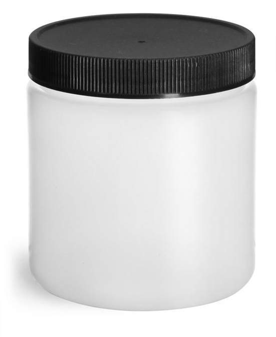 8 oz Natural HDPE Straight Sided Jars w/ Black Lined Screw Caps