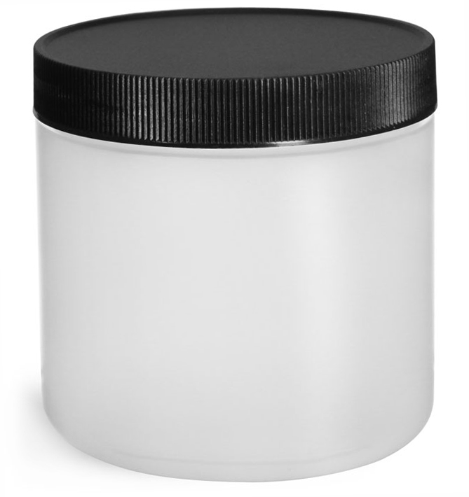 16 oz Natural HDPE Straight Sided Jars w/ Black Lined Screw Caps