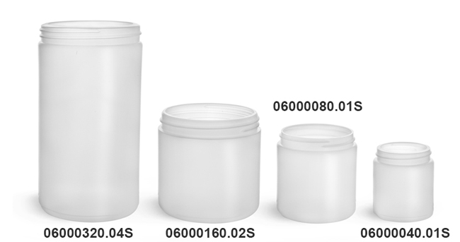 Plastic Jars, Natural HDPE Straight Sided Jars (Bulk), Caps Not Included