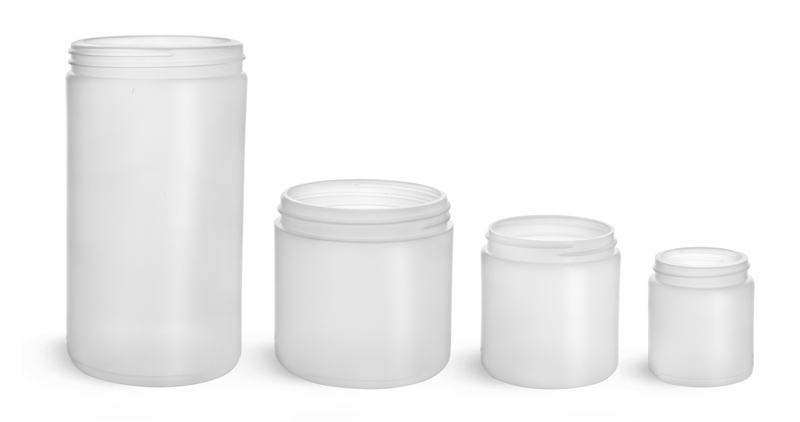 32 oz Natural HDPE Straight Sided Jars (Bulk), Caps Not Included
