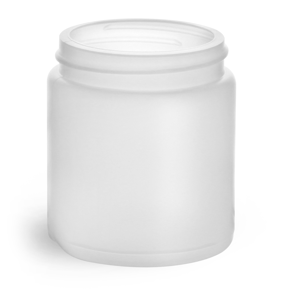 4 oz Natural HDPE Straight Sided Jars (Bulk), Caps Not Included