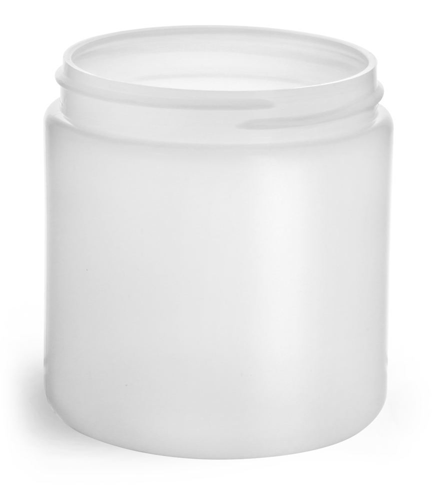 8 oz Natural HDPE Straight Sided Jars (Bulk), Caps Not Included