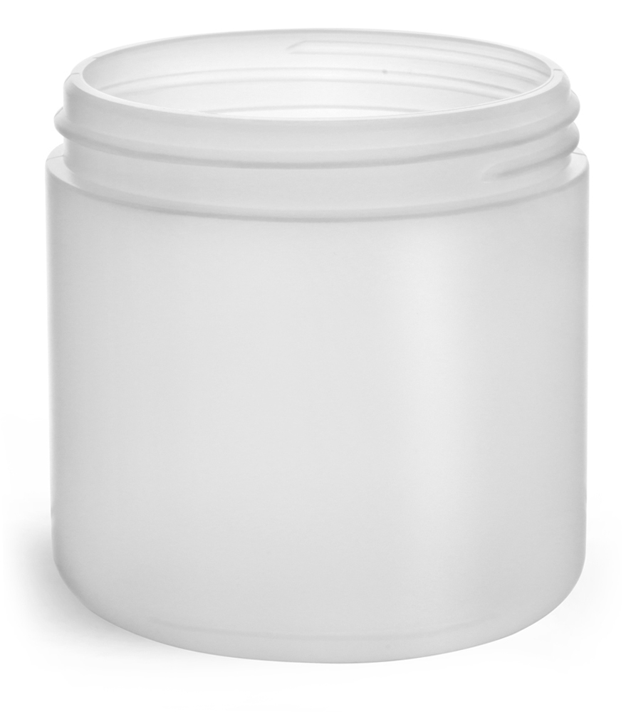 16 oz Natural HDPE Straight Sided Jars (Bulk), Caps Not Included