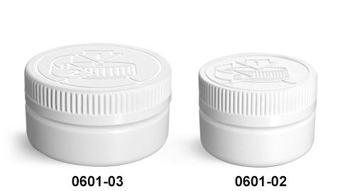 Plastic Jars, White HDPE Low Profile Jars w/ White PE Lined Child Resistant Caps