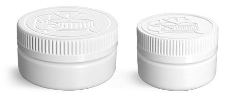 HDPE Plastic Jars, White Low Profile Jars w/ White PE Lined Child Resistant Caps