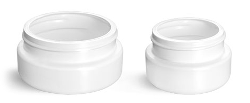 Plastic Jars, White HDPE Wide Mouth Low Profile Jars