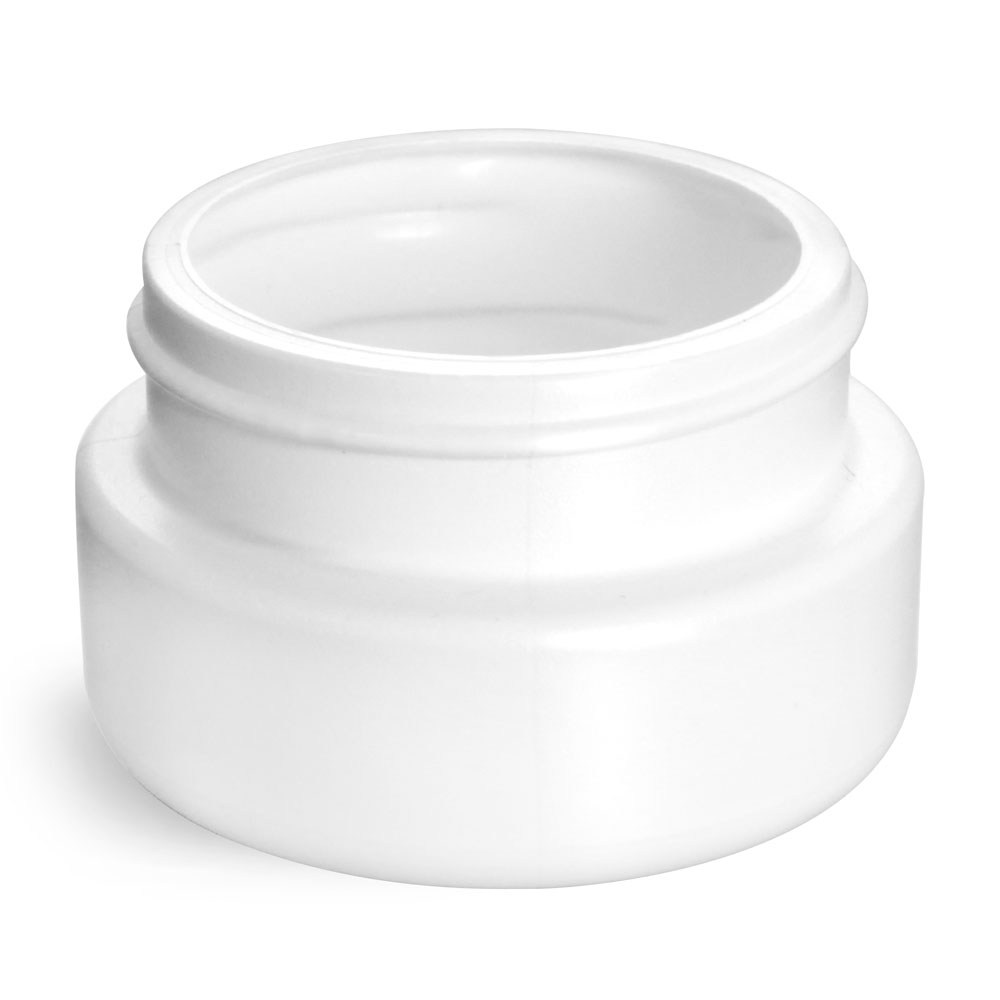 2 oz Plastic Jars, White HDPE Wide Mouth Low Profile Jars