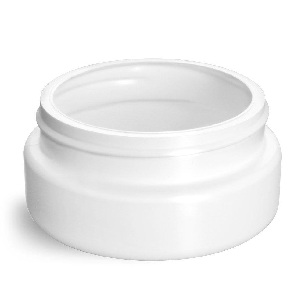 4 oz Plastic Jars, White HDPE Wide Mouth Low Profile Jars