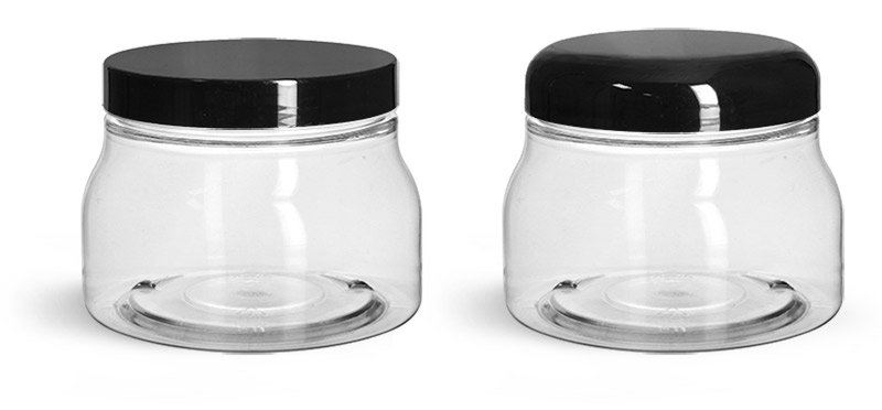 PET Plastic Jars, Clear Tuscany Jars w/ Black Smooth Plastic Caps