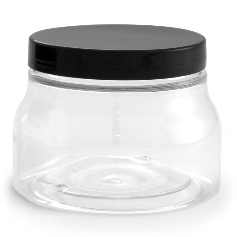 Clear PET Tuscany Jars w/ Black Smooth Plastic Caps