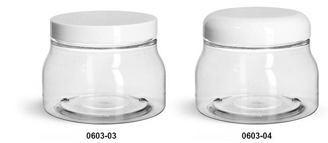 Plastic Jars, Clear PET Tuscany Jars w/ White Smooth Plastic Caps