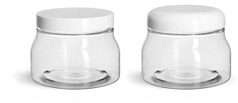 PET Plastic Jars, Clear Tuscany Jars w/ White Smooth Plastic Caps