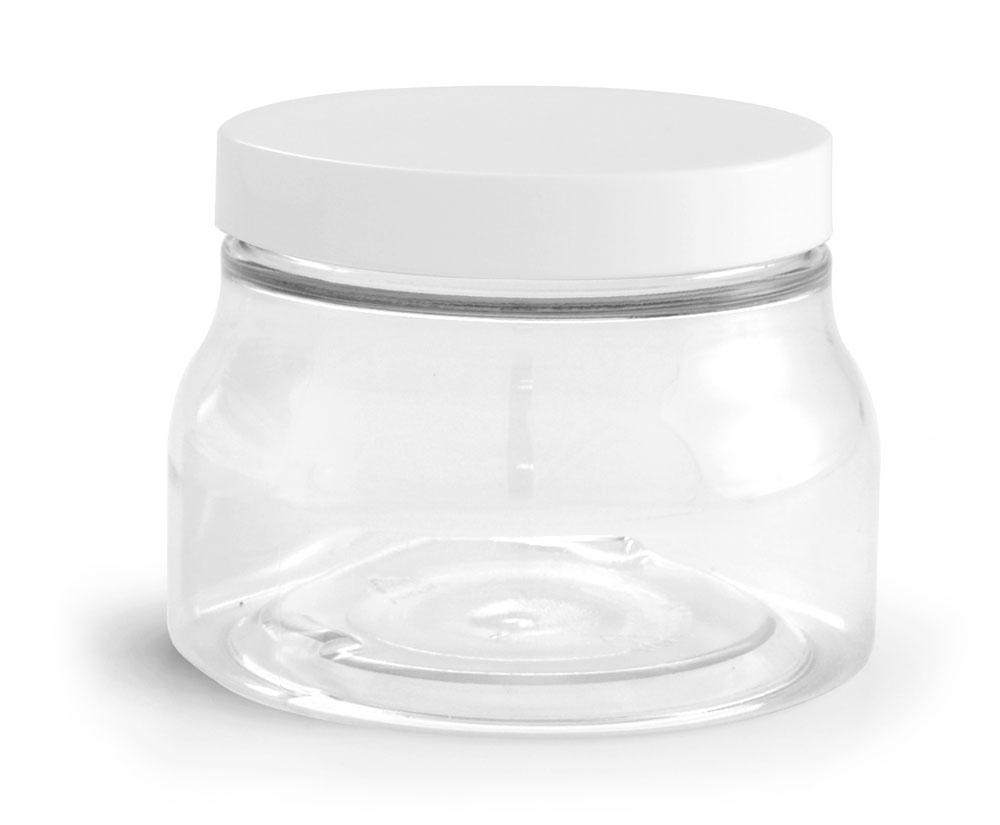 8 oz w/ Smooth Cap PET Plastic Jars, Clear Tuscany Jars w/ White Smooth Plastic Caps