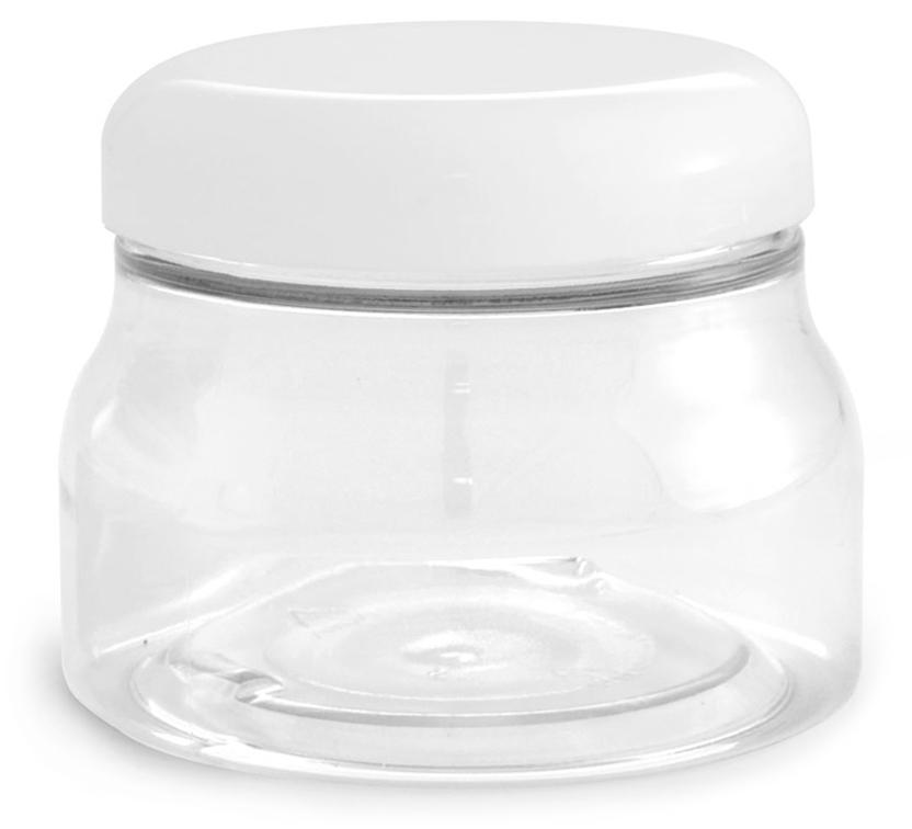 PET Plastic Jars, Clear Tuscany Jars w/ White Smooth Plastic Caps