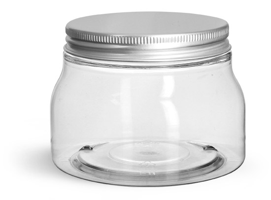PET Plastic Jars, Clear Tuscany Jars w/ Aluminum Lined Caps'
