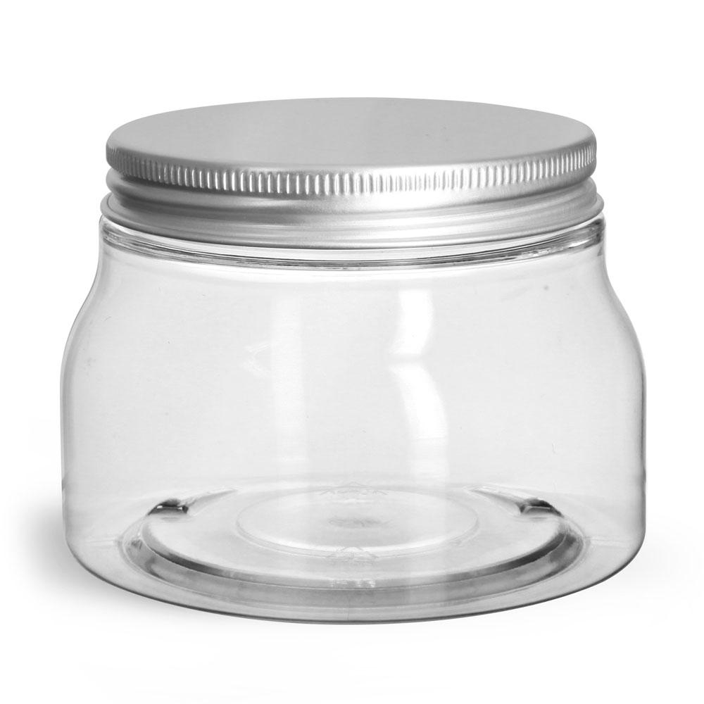 Clear PET Tuscany Jars w/ Aluminum Lined Caps