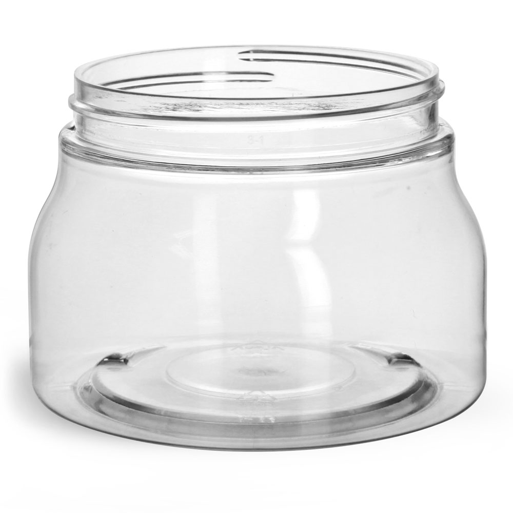 8 oz Clear PET Tuscany Jars Only (Bulk), Caps Not Included