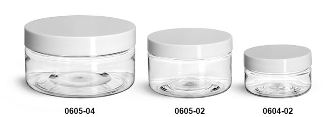 Plastic Jars, Clear PET Heavy Wall Jars w/ White Smooth Lined Plastic Caps
