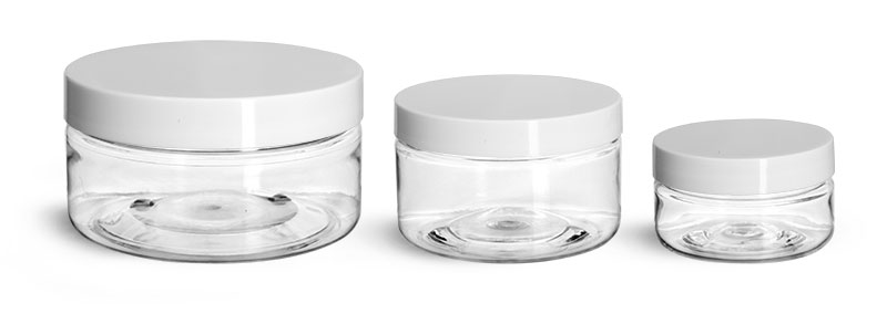 PET Plastic Jars, Clear Heavy Wall Jars w/ White Smooth Lined Plastic Caps