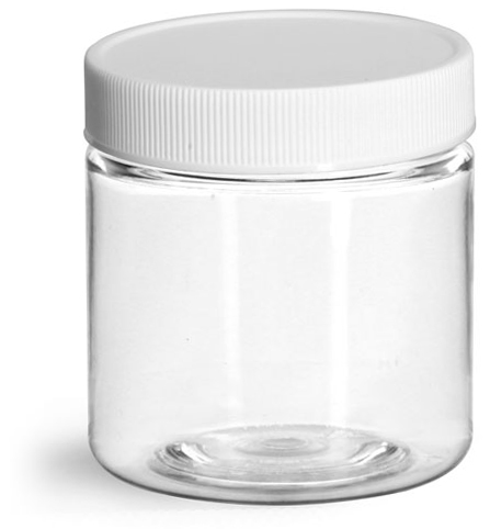 4 oz Clear PET Jars w/ White Ribbed Plastic Unlined Caps