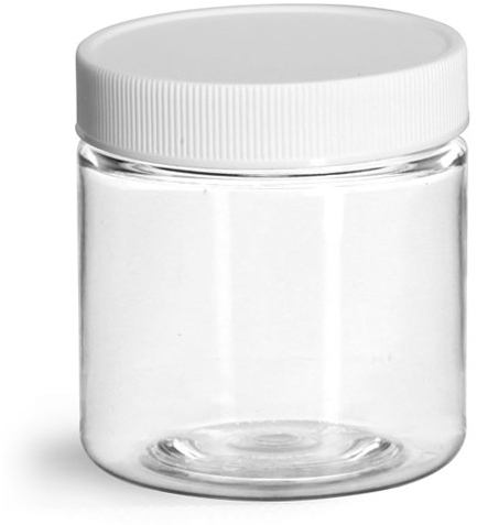 Clear PET Jars w/ White Ribbed Plastic Unlined Caps