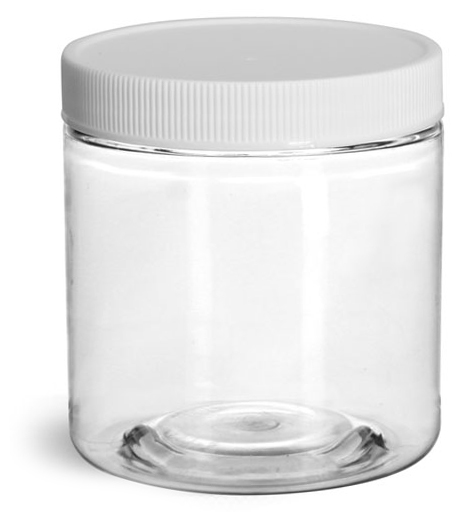 8 oz Clear PET Jars w/ White Ribbed Plastic Unlined Caps