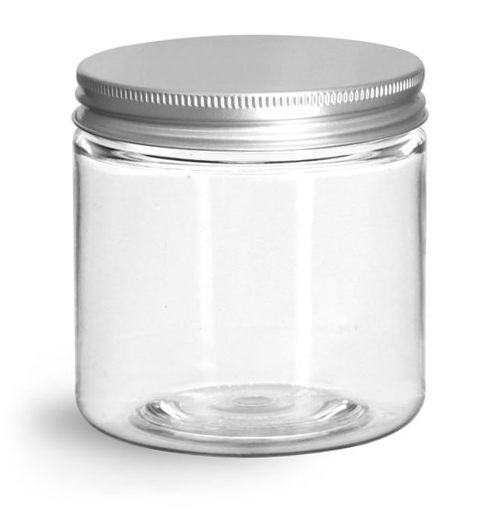 4 oz Clear PET Straight Sided Jars w/ Lined Aluminum Caps