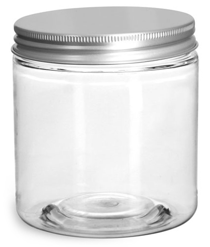 8 oz Clear PET Straight Sided Jars w/ Lined Aluminum Caps