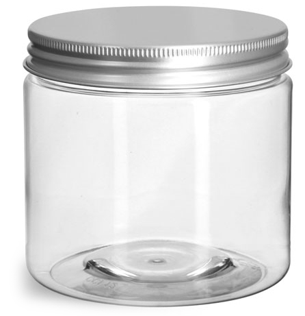 16 oz Clear PET Straight Sided Jars w/ Lined Aluminum Caps