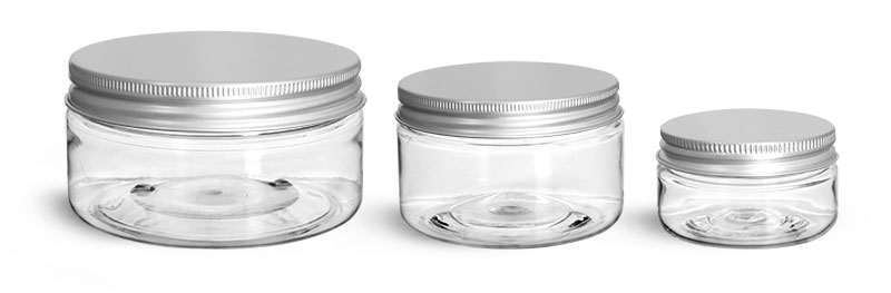PET Plastic Jars, Clear Heavy Wall Jars w/ Lined Aluminum Caps