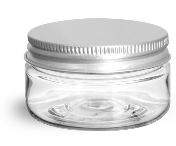 Clear PET Heavy Wall Jars w/ Lined Aluminum Caps