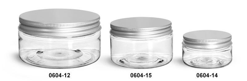 Plastic Jars, Clear PET Heavy Wall Jars w/ Lined Aluminum Caps
