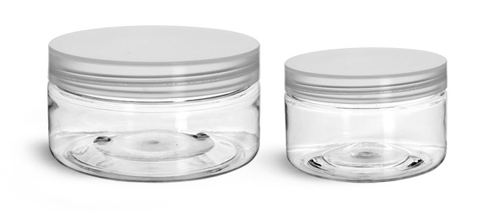 PET Plastic Jars, Clear Heavy Wall Jars w/ Natural Smooth Unlined Caps