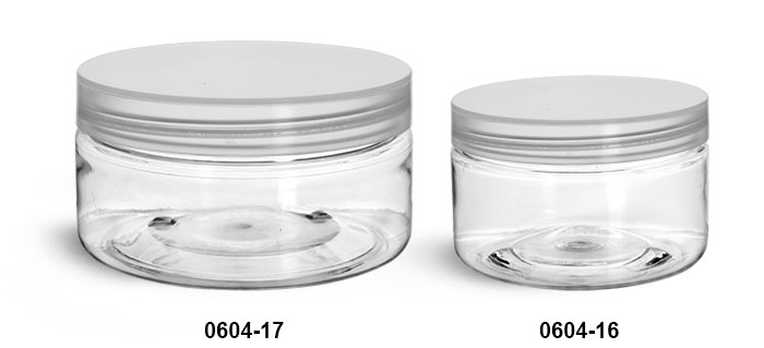 Plastic Jars, Clear PET Heavy Wall Jars w/ Natural Smooth Unlined Caps