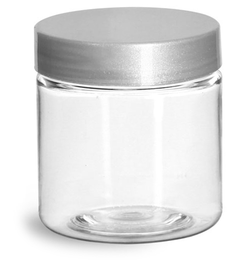 4 oz Clear PET Straight Sided Jars w/ Silver Smooth Lined Caps